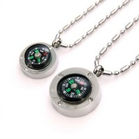 """JewelryWe 2pcs of Fashion Stainless Steel """"Love"""" Couple's Compass Pendant Necklaces in Gift Bag (Lover's Gift, One Pair)"""