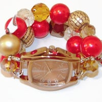 SF 49ers Game Day Watch, 49ers Chunky Beaded Watch, Interchangeable Watch, Red and Gold 49er Bracelet Watch, BeadsnTime