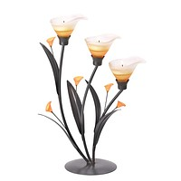 Iron Amber Lilies Tealight Candle Holder