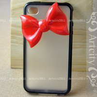 Bow Iphone 4 case, Iphone 4S case, Black Frame Iphone 4 Case, Iphone 4S Case, Bowknot Iphone Case