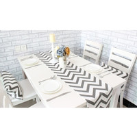 Zigzag Table Cloth Modern Table Runner Stripe Tablecloth Cheap Tableware - Gray