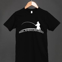 Reel American Hero - Fisher Logo - Fishing Dark T Shirt - other styles and colors available