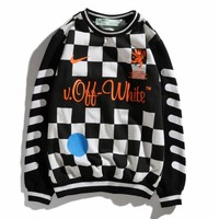 Nike X Off White World Cup Football Fashion Women Men Casual Black White Plaid Long Sleeve Round Collar Couple Sweater Top Sweatshirt I13844-1