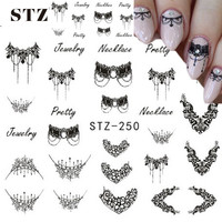 STZ 1 Sheets DIY Black Necklace  Jewelry Design Fashion Water Transfer Sticker Nail Art Decals Manicure Styling Tools STZ249-251