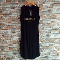 """Balmain"" Women Casual Bronzing Letter Buttons Decoration Sleeveless Cotton Vest Dress"