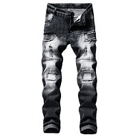 JAYCOSIN Hole jeans men's elastic torn tight bike jeans destruction recording slim jeans tight jeans men