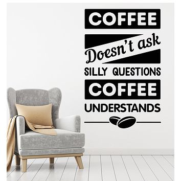 Vinyl Wall Decal Funny Quote Coffee Phrase Cafe Restaurant Decor Stickers Mural (g2808)