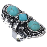 Yazilind Vintage Style Oval Rimous Turquoise Striking Tibetan Silver Big Big Ring Gift (Size: 1.57, Color: Green & Silver) = 1946829572