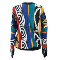 Vintage St Croix Sweater Colorful 90s Hip Hop Biggie Fresh Prince Cosby Coogi Style Textured Abstract 3D Knit Pullover 80s Mens Ugly Sweater