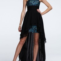 Strapless Highlow Dress with Sequin and Chiffon - David's Bridal