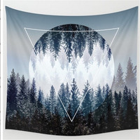 Drop Shipping Woods Sky Printing Wall Hanging Tapestry 2017 Bohemian Hippie Tapestry Round Beach Towel Yoga Mat Shawls Wall Deco