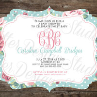 Rustic Shabby Chic Flower Floral Baby Shower With Monogram Invitation - Printable Digital File