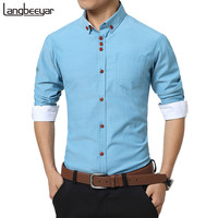 2017 New Fashion Casual Men Shirt Long Sleeve Trend Slim Fit  Men Solid Color High Quality Mens Dress Shirts Men Clothes 5XL