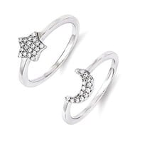 Sterling Silver & CZ Brilliant Embers Moon And Star 2 Piece Ring Stackable Set