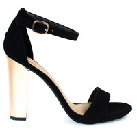 Spotlight31S BlackBy Bamboo, Retro Electric Plated Metal Chunky Block Heel Sandals