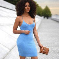 New Sexy Strap Sleeveless Show Body Dress Package Hip Skirt Light Blue