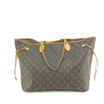AUTH Louis Vuitton Monogram Canvas leather Neverfull GM Tote Bag M40157