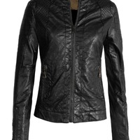 LE3NO Womens Round Neck Quilted Faux Leather Zip Up Moto Jacket with Pockets (CLEARANCE)