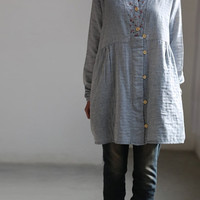 Worthy of love/ Light blue Shirt dress/ single breasted doll dress/ long sleeved gown
