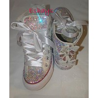 Custom Converse High Tops with Sequin Silver Bow