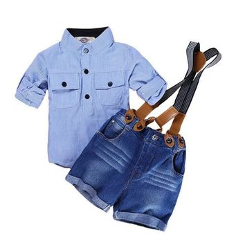Stripe Top Suspender Shorts Two Piece Clothing Sets For Boy
