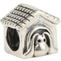 European Charm Sterling Silver Bead Dog House