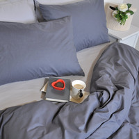 Dark Grey Duvet Cover Set Full Queen King, Pure Cotton Bedding, Solid Color Bed Linen, Cosy Neutral Bedding, Plain Bed Set with Pillowcases
