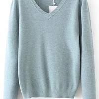 Blue V Neck Long Sleeve Sweater