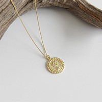 18K Gold Plated S925 Sterling Silver Elizabeth Coin Pendant Necklace Minimalist Jewelry