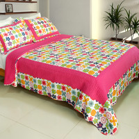 Simple Happiness 100% Cotton 3PC Vermicelli Quilted Patchwork Quilt Set in Full/Queen Size