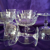 Crystal Champagne Coupes, Etched Floral and Coin Dot, Short Stems, Sherbets, Set of Six