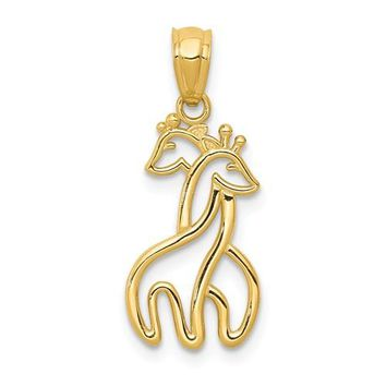 14K Yellow Gold Solid Interlocking Giraffes Pendant