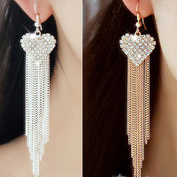 Fashion Metal Heart-shaped Inlay Diamond Long Tassel Earring Women Jewelry Accessories