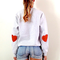 Grey Sweater Red Hearts Elbow. Hipster Sweater Crew Neck. Workout Sweatshirt. Red Happy Sweaters