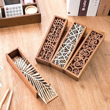 Hollow Wood Pencil Case Storage Box Creative Students Wooden Pencil Box Multifunction Stationery School Gift V2827