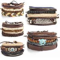 Multilayer  Leather Peace Bracelets