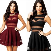 Club Backless Dress Sexy Lace See Through One Piece Dress [8096853319]