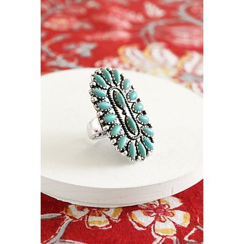 Navajo Native Style Statement Ring in Turquoise