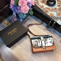 ''Prada'' Women Shopping Leather Crossbody Shoulder Bag