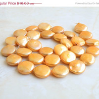 42% Off Freshwater Coin Pearl Bridal Gemstone Yellow Gold 12mm 13 beads