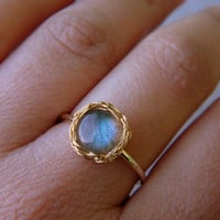 Blue Labradorite  Gold Ring, Crochet Gold Filled Wire