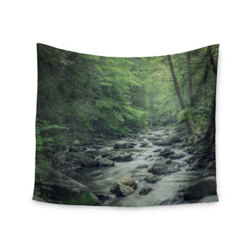 """Suzanne Harford """"Misty Forest Stream"""" Nature Photography Wall Tapestry"""