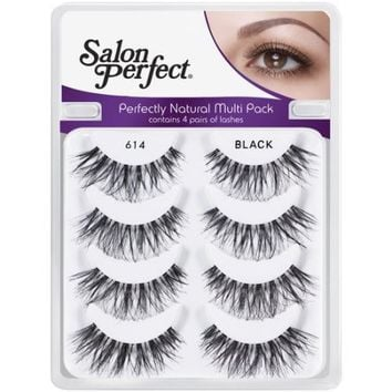 Salon Perfect Perfectly Natural Multi Pack Eyelashes, 614 Black, 4 pr - Walmart.com