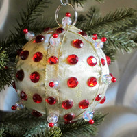 Christmas Ornament, Gold Ball with Red Accents in Gift Box, Handmade Fabric Tree Decoration, Holiday Decor, Hostess Gift, Secret Santa