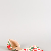 Wild Diva Lounge Floral Fabric Pointy Toe Flat