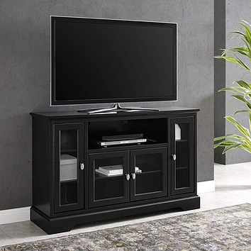 "Wood TV Stand for up to 58"" Flat Screen, Black by Walker Edison"