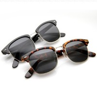 zeroUV - Premium Half Frame Horn Rimmed Sunglasses with Metal Rivets (Classic Series | 2-Pack (Blk-Gold/Smk + TT/Brown))