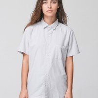 rsacp403sw - Unisex Italian Cotton Short Sleeve Button-Up with Pocket