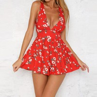 Rompers Womens Jumpsuit 2017 Fashion Elegant Deep V Neck Playsuits And Jumpsuits Floral Printed Summer Overalls For Women