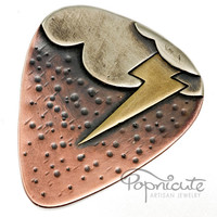 Unique Guitar Pick Lightning Cloud Copper Silver Brass Metal Novelty
